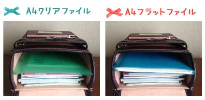 土屋鞄ランドセルA4フラットファイルを入れたところ