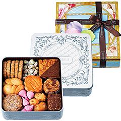 「マリベル」のクッキー缶とパッケージ