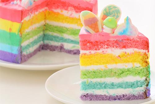 レインボーケーキの通販おすすめ「夢のカラフルケーキ」02