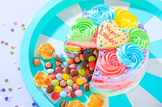 レインボーケーキの通販おすすめ「ギミックケーキ」01
