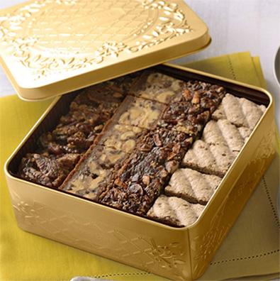 「マリベル」のクッキー缶ゴールド